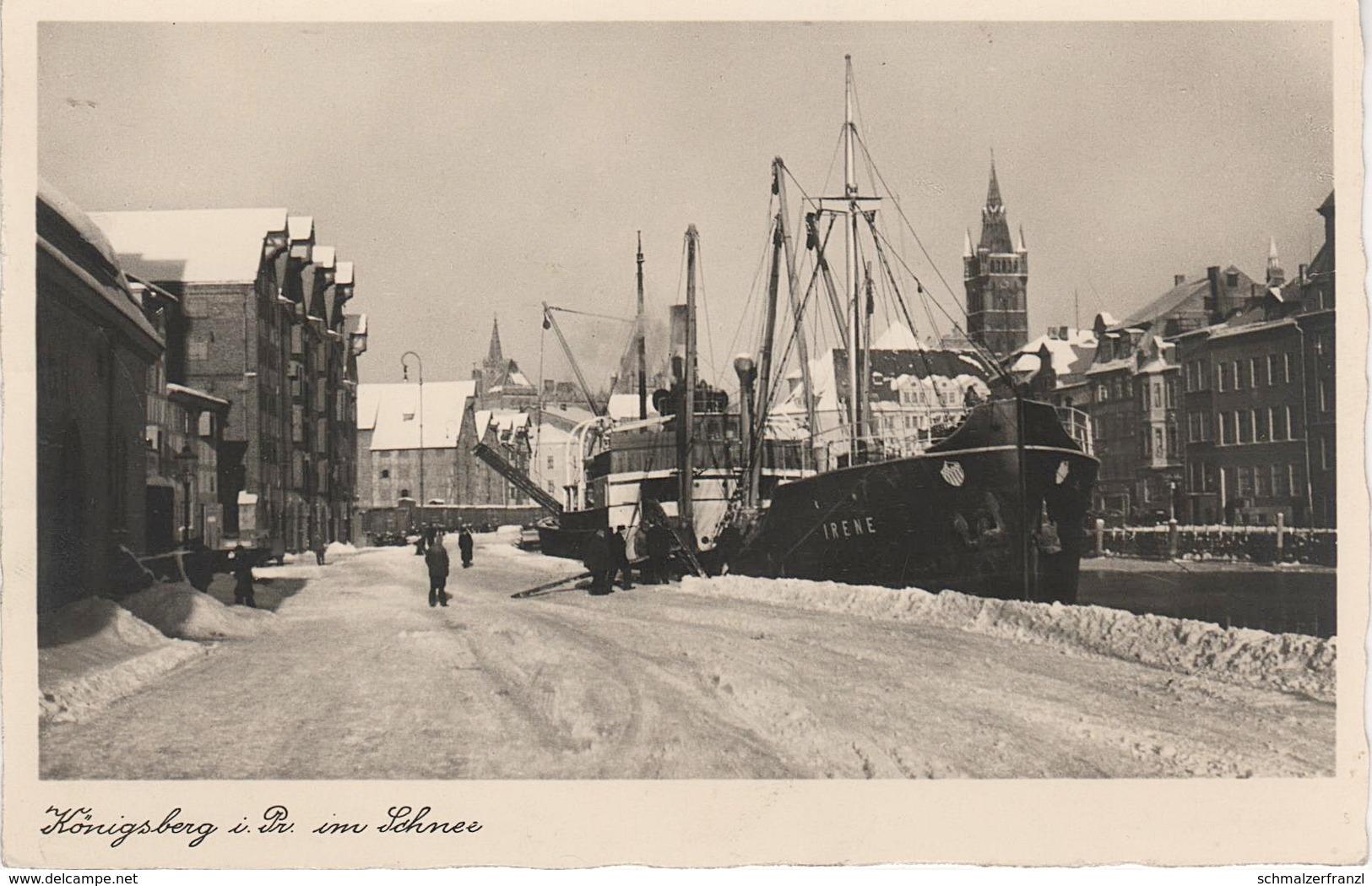AK Königsberg Kaliningrad Калинингра́д Pregel Speicher Dampfer Irene Hafen Winter Schnee A Tilsit Sowetsk Memel Klaipeda - Ostpreussen