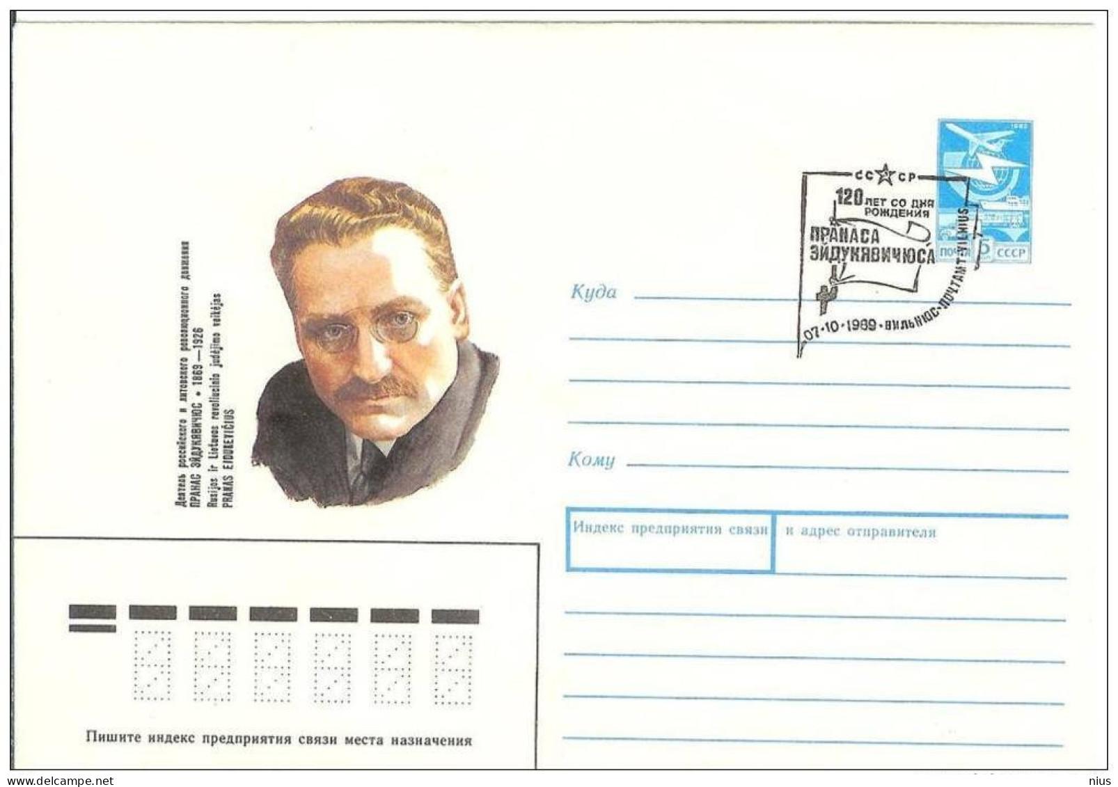 Lithuania USSR 1989 Pranas Eidukevicius Revolutionist Politician, Poland, Canceled In Vilnius - Lithuania