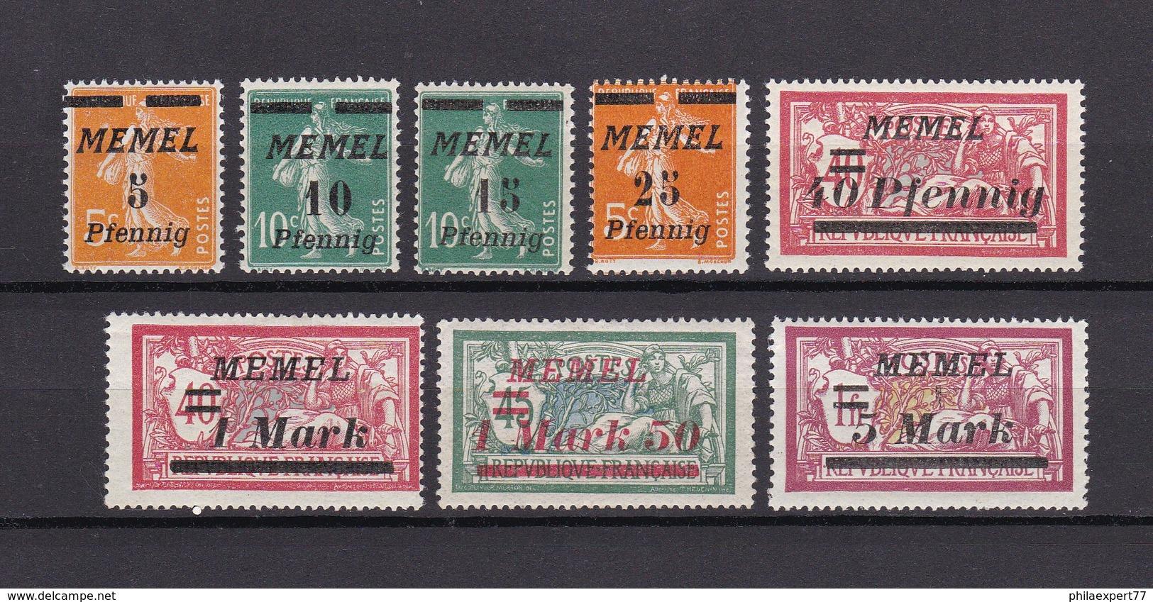 Memelgebiet - 1922 - Michel Nr. 52+54/55+58+60+64+66+69 - Ungebr. - Klaipeda