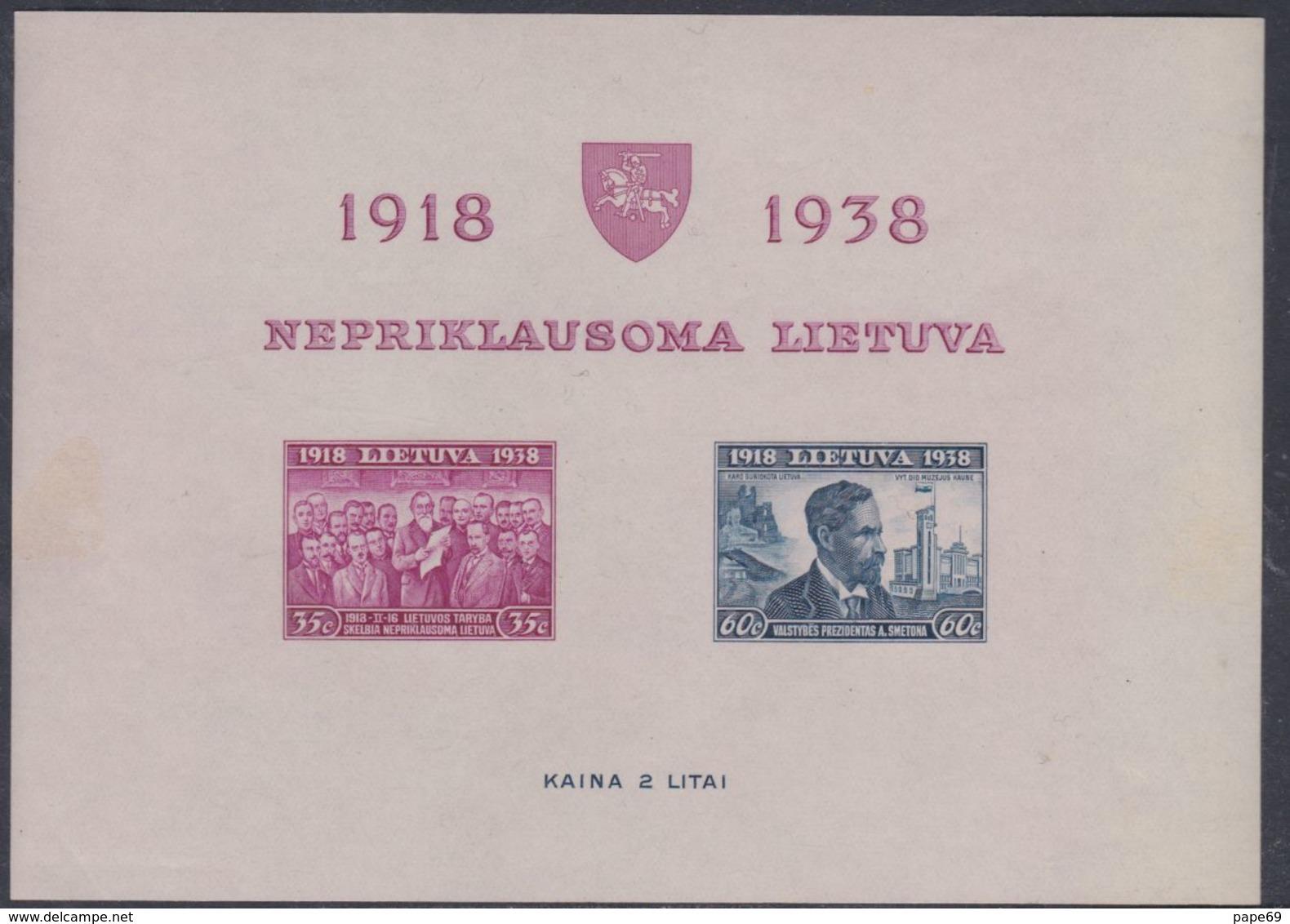 Lituanie BF N° 1 Nd XX 20ème Anniversaire De L'Indépendance, Le Bloc Non Dentelé Sans Charnière, TB - Lithuania