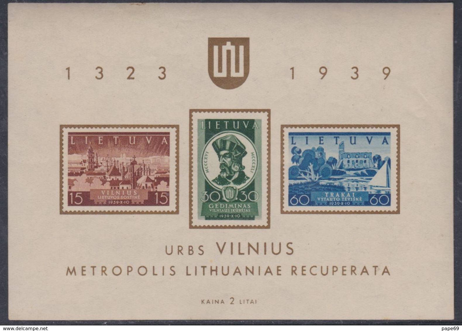 Lituanie BF N° 2 XX Commémoration Du Retour De Vilna à La Lituanie, Le Bloc Sans Charnière, TB - Lithuania