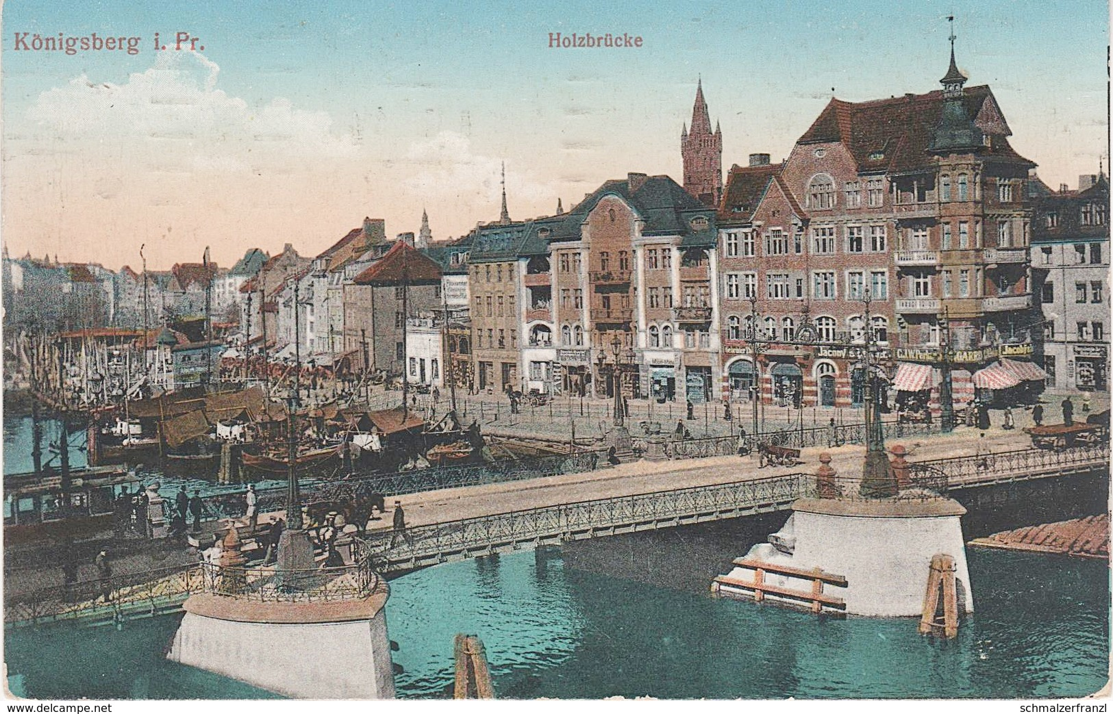AK Königsberg Kaliningrad Калинингра́д Holzbrücke Pregel Hafen Kneiphof Insel Fischmarkt A Tilsit Sowetsk Memel Klaipeda - Ostpreussen