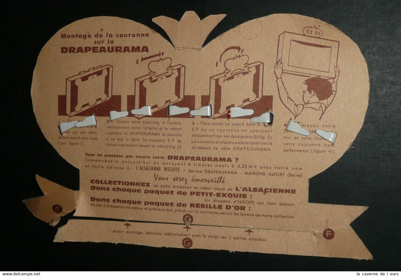 Couronne Publicitaire, L'Alsacienne, Biscuits Petit-Exquis, 5 Drapeaux En Tôle, Petits états D'Europe Vatican Monaco - Alimentaire