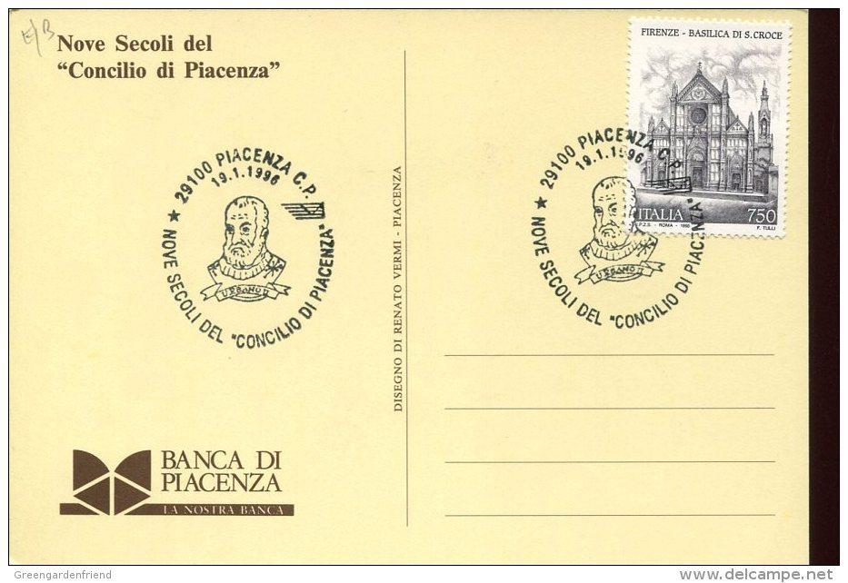 39703 Italia Special Postmark 1996 Piacenza,  Showing  The Pope's  Urban II  (french Pape)  Papa Urbano II - Christendom