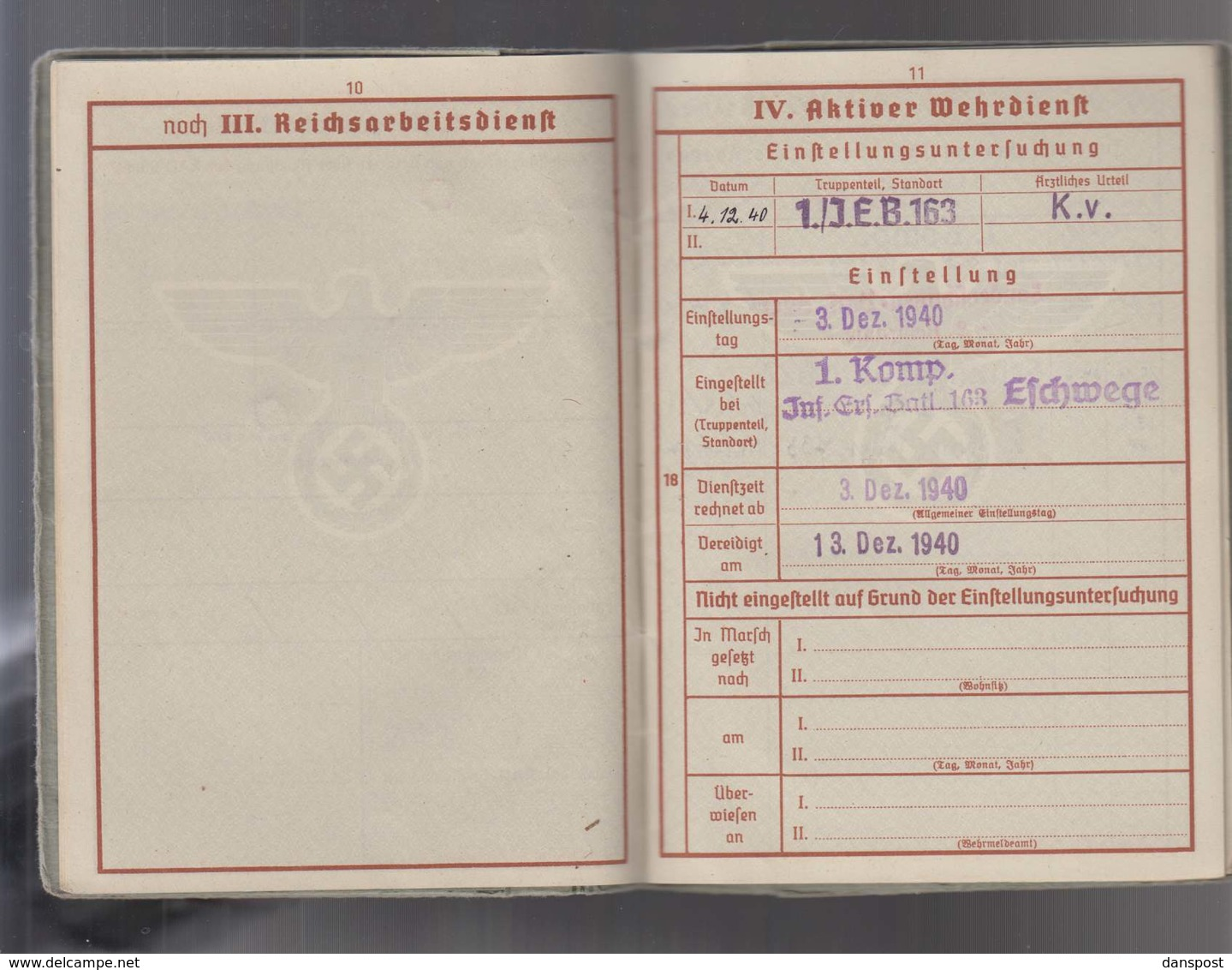 DR Wehrpass 2. WK Obergefreiter Kreta Malariakrank Ausgestellt Frankfurt 16.04.1940 Viele Einträge Bis Okt 1944! - Historische Dokumente