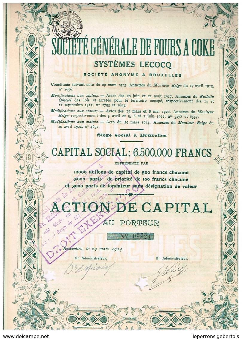 Ancienne Action - Société Générale De Fours à Coke- Systèmes Lecocq - Titre De 1924 - Industrie