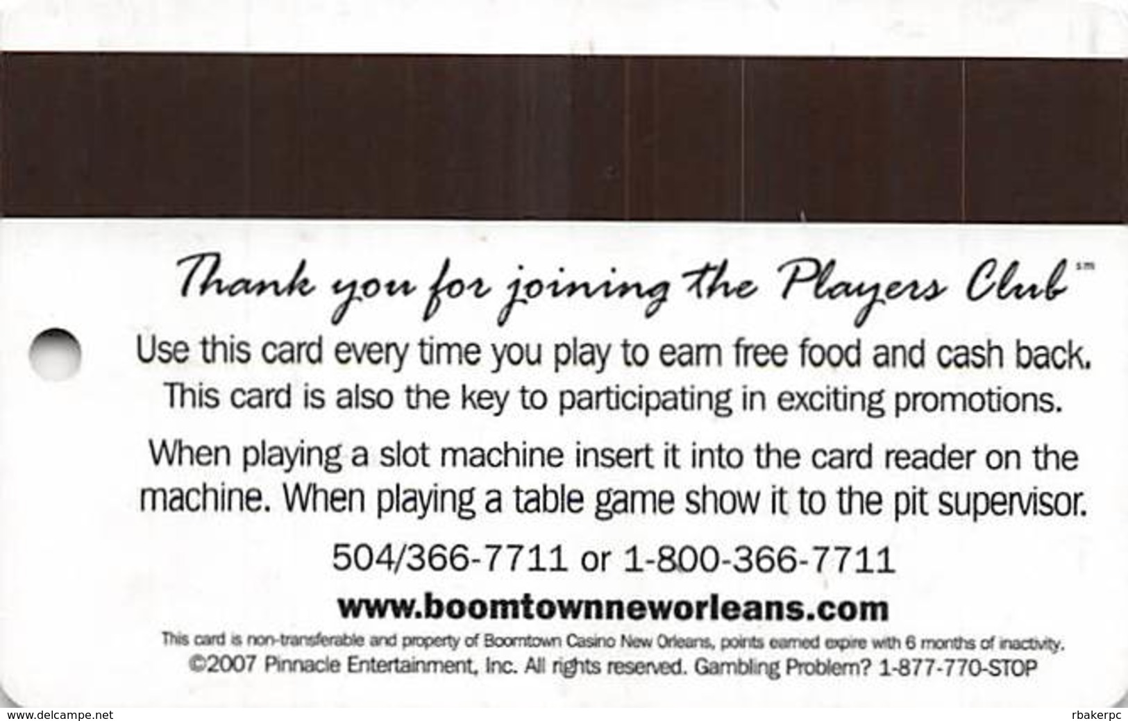 Boomtown Westbank Casino New Orleans, LA - Slot Card - Casino Cards