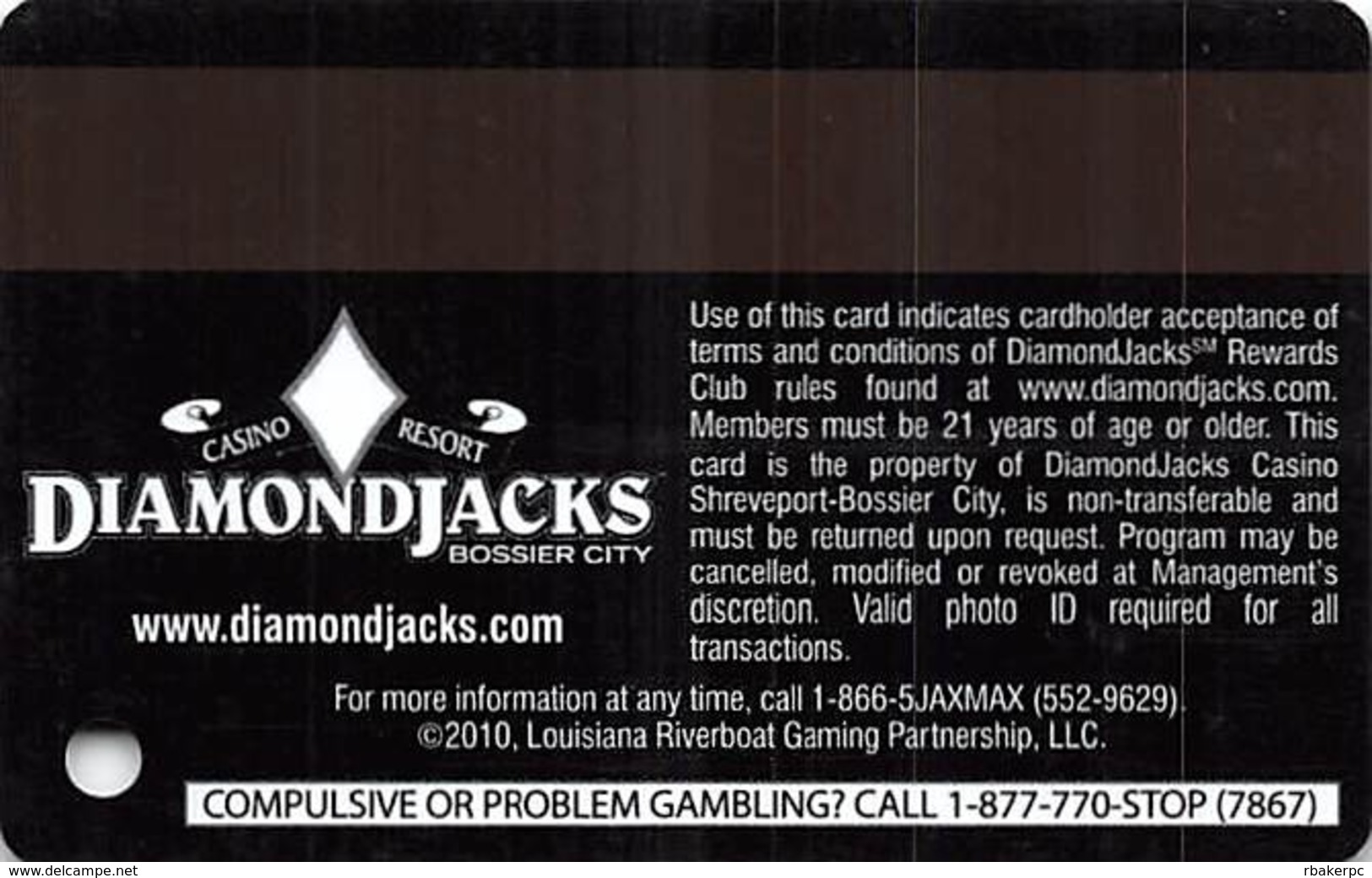Diamond Jack's Casino Bossier City, LA - Slot Card - Copyright 2010 On Second Line From Bottom - Casino Cards