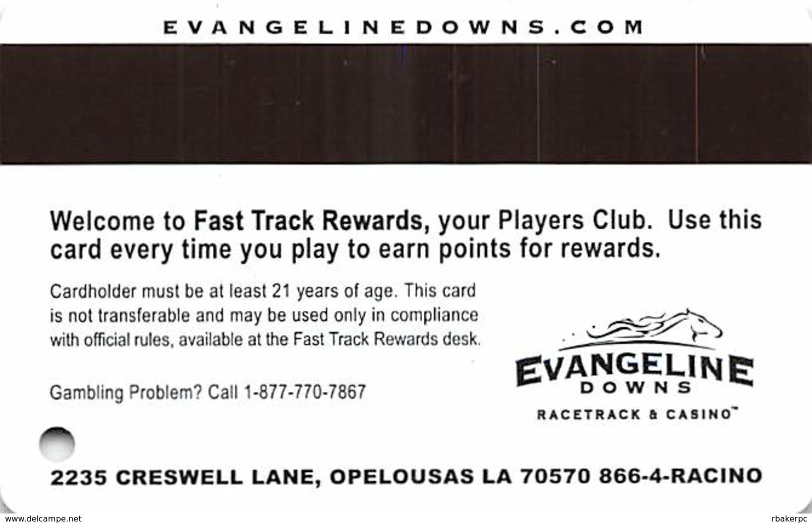 Evangeline Downs Opelousas LA FastTrack Rewards Slot Card - No Box On Reverse Logo - Casino Cards