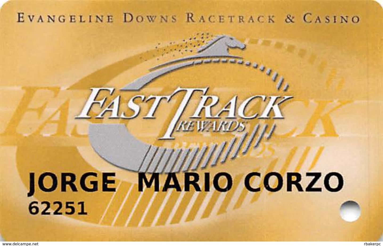 Evangeline Downs Opelousas LA FastTrack Rewards Slot Card - White Horse Logo On Back - Casino Cards