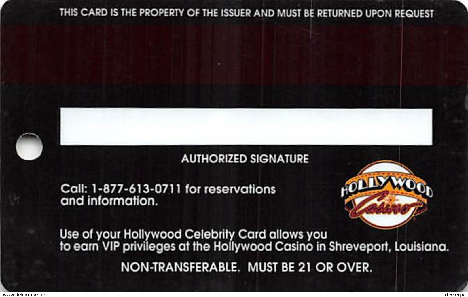 Hollywood Casino - Shreveport, LA - Celebrity Level Slot Card - Expires 12/31/04 - Casino Cards
