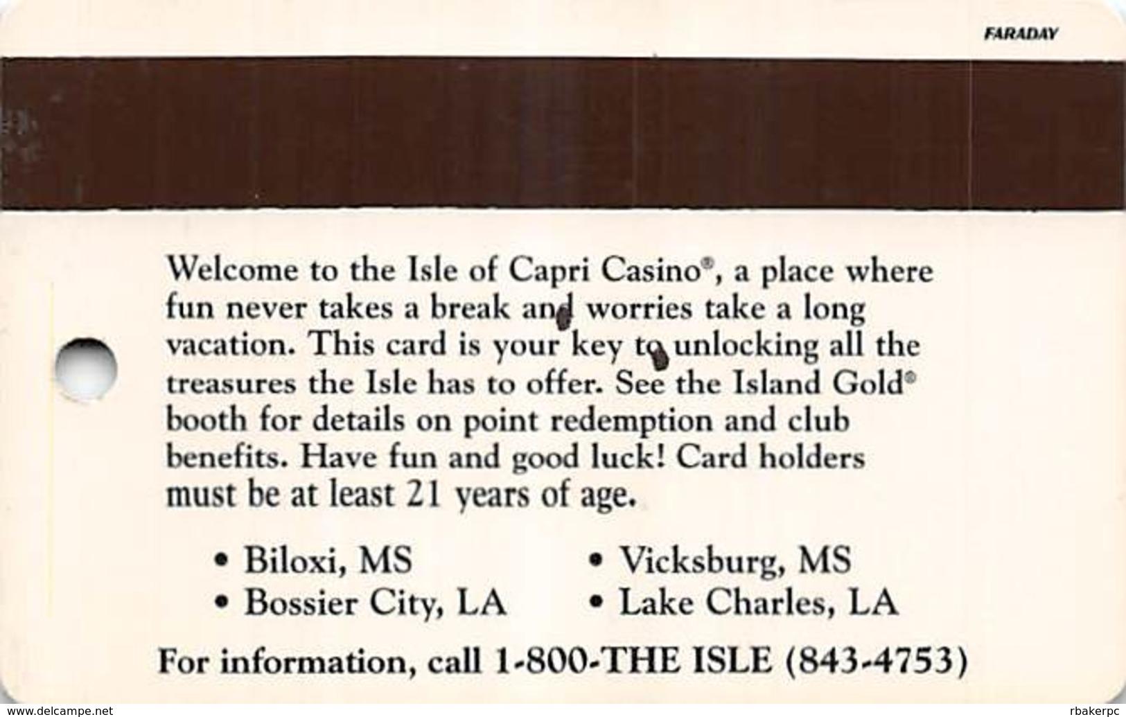 Isle Of Capri Casino Bossier City, LA Slot Card With Faraday Over Mag Stripe - Casino Cards