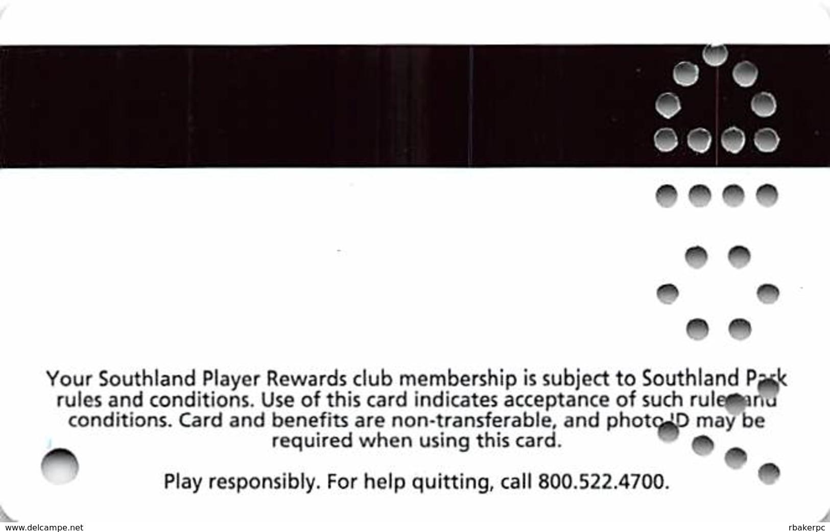 Southland Park Gaming - W. Memphis, AR - Blank Sample Slot Card - Casino Cards