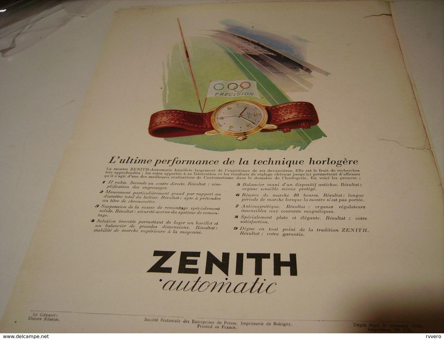ANCIENNE PUBLICITE PRECISION MONTRE ZENITH 1950 - Autres