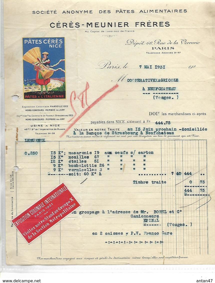 Facture 1931/ PARIS / Pâtes Alimentaires CERES MEUNIER / NICE / Vignette Exposition Coloniale 1931 - Vignetten (Erinnophilie)