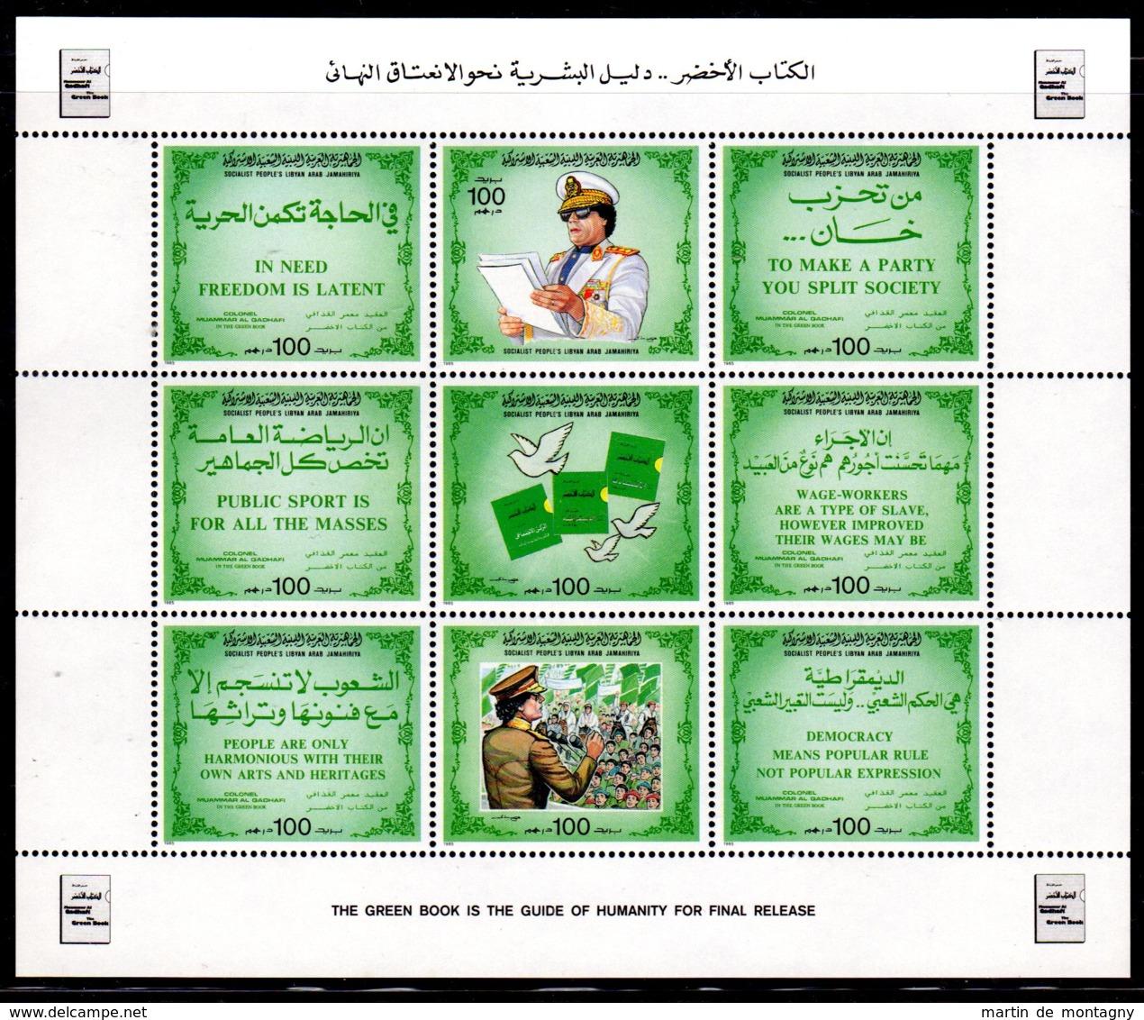 15.8.1985; Le Livre Vert De Mr Kadhafi, YT 1578 - 1586 En Feuillet, Neuf **, Lot 50326 - Libia