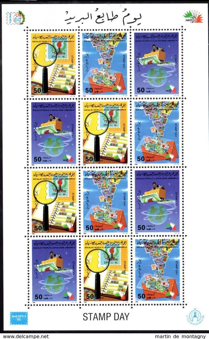 24..10.1985; Journée Du Timbre, YT 1614 - 1616 En Feuille, Neuf **, Lot 50327 - Libye
