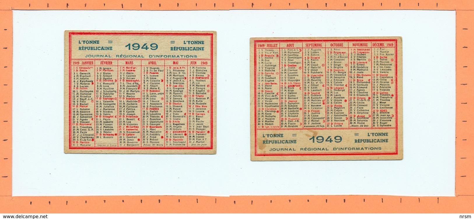 Petit Calendrier 1949 / L'Yonne Républicaine - Calendriers
