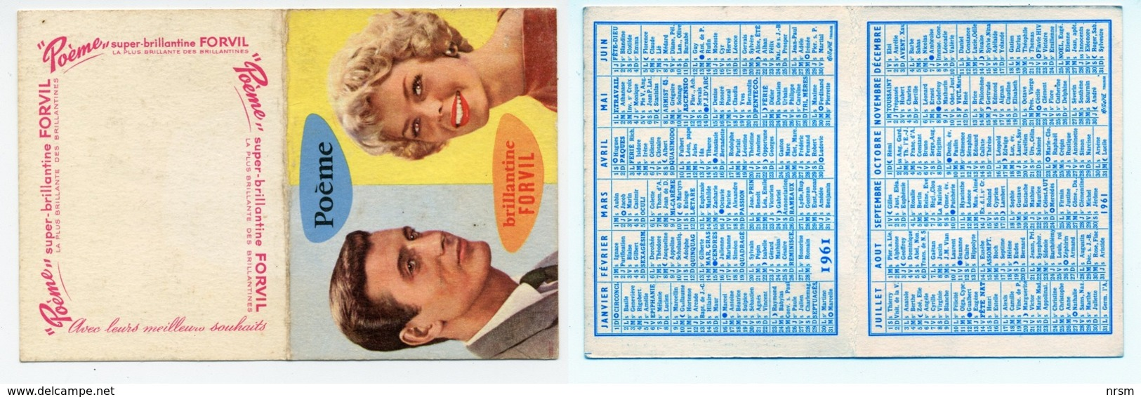 Petit Calendrier 1961 / Brillantine Forvil / Poème - Calendriers