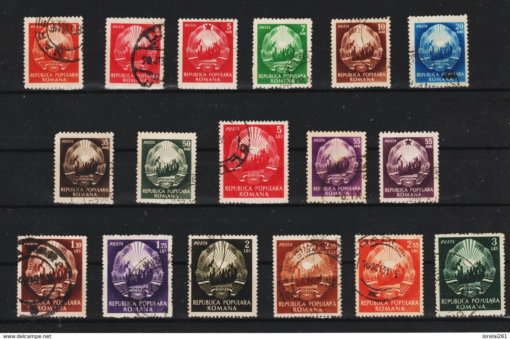 1952 -  SERIE COURANTE, MI No 1370/1384  (2) - Gebraucht