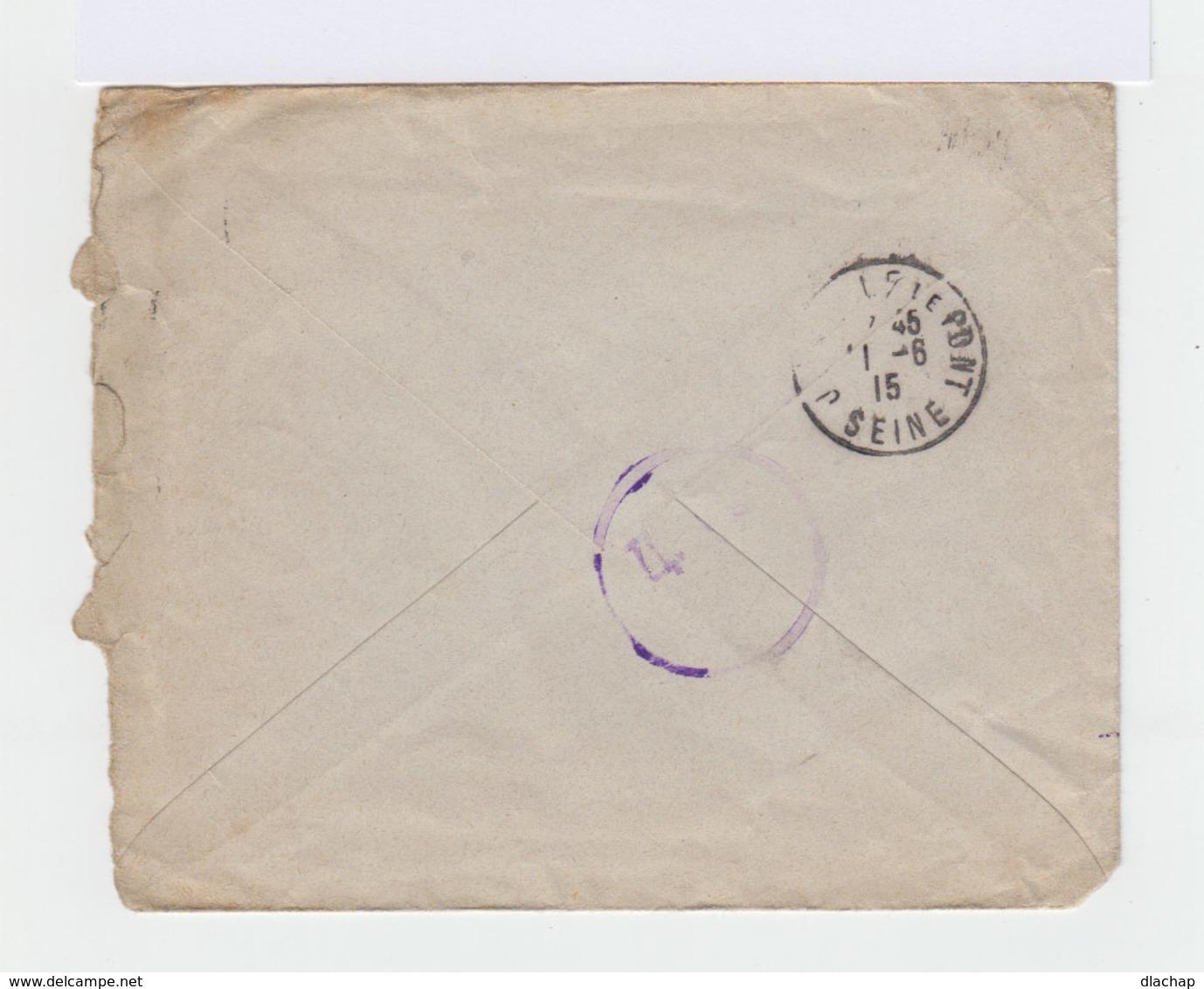 Sur Enveloppe  Empire Russe Armoiries 7 K Bleu Et 3 K Rouge CAD Russe 1915. Cachet Joinville Le Pont. (807) - 1857-1916 Empire