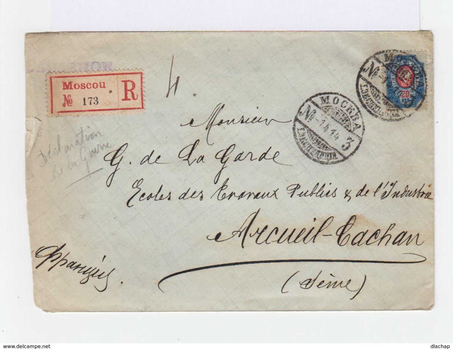 Enveloppe Recommandé  Empire Russe Armoiries 20 K Bleu Et Rose.  CAD Mockba 1914. Cachet Arcueil Cachan. (808) - 1857-1916 Empire