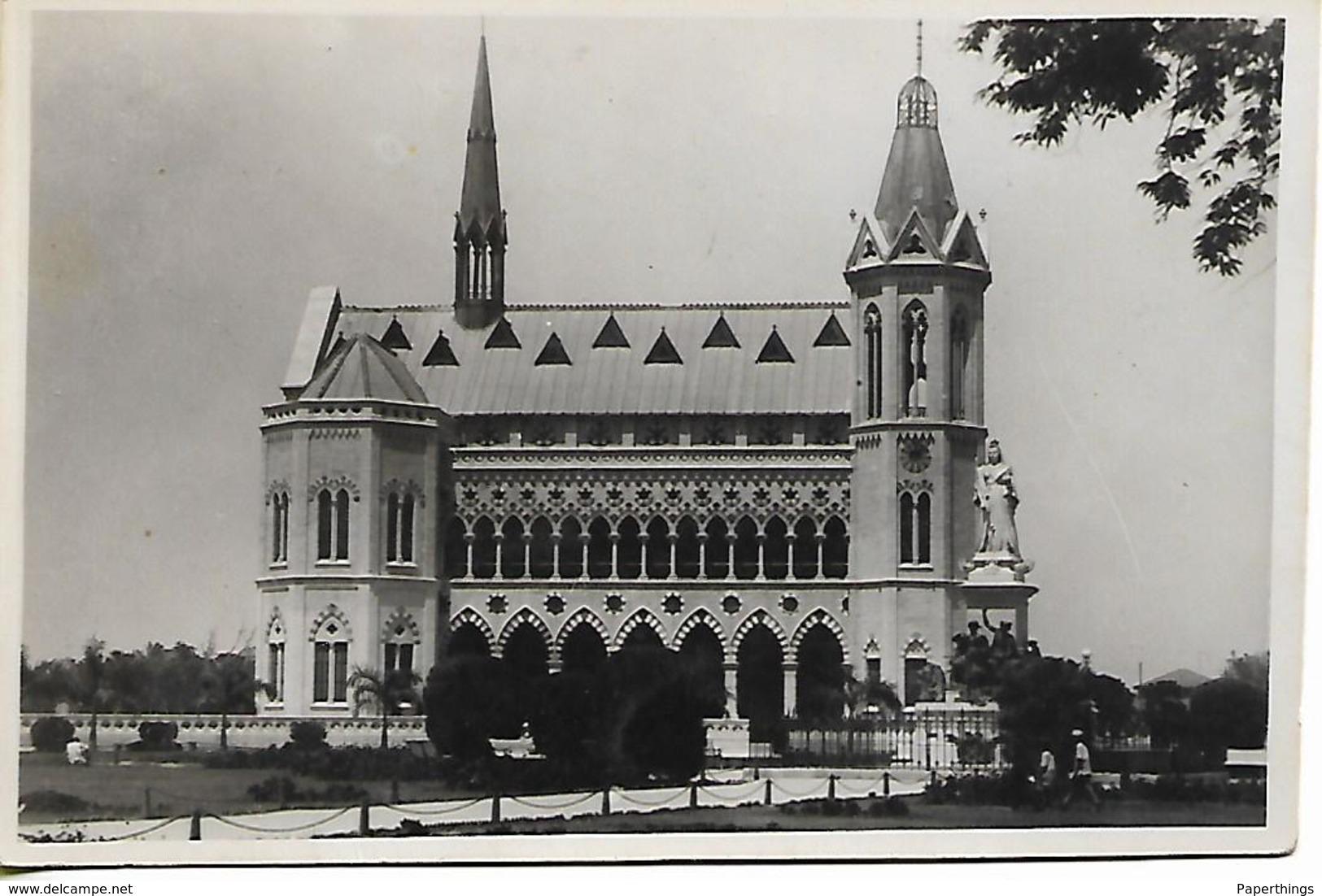Old Real Photo Postcard, Pakistan, Karachi, Large Building, Temple, Hall, Landscape. - Pakistan