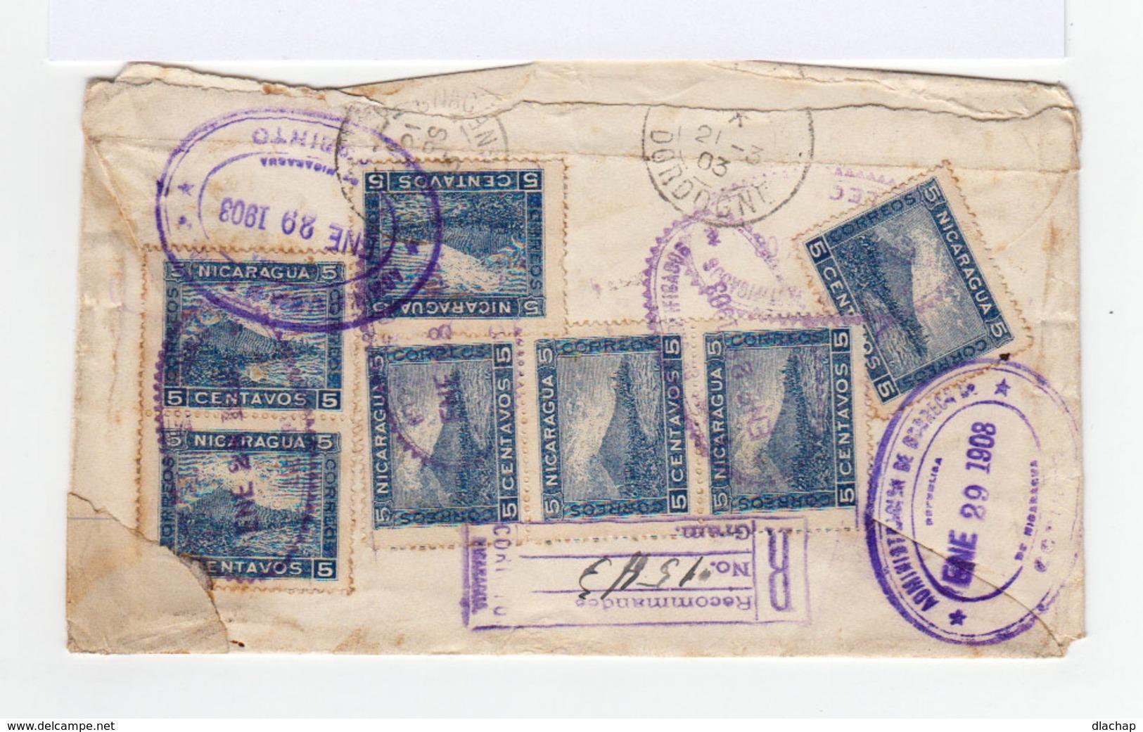 Sur Entier Postal Nicaragua Recommandé Vers France 12 Timbres 5 C. Bleu Foncé Cachets Ovales 1903. (809) - Nicaragua