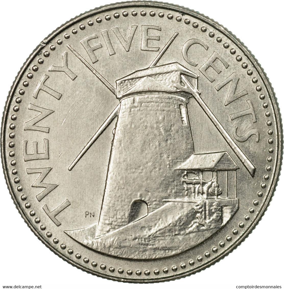 Monnaie, Barbados, 25 Cents, 1980, Franklin Mint, TTB, Copper-nickel, KM:13 - Barbades