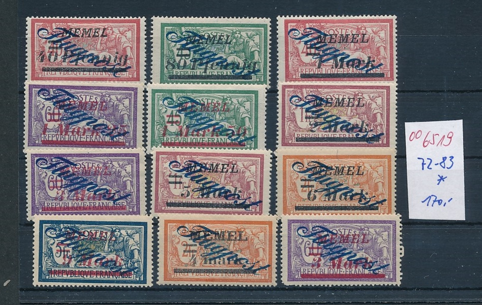 Memel  Nr. 72-83  *     (oo6519  ) Siehe Scan - Klaipeda