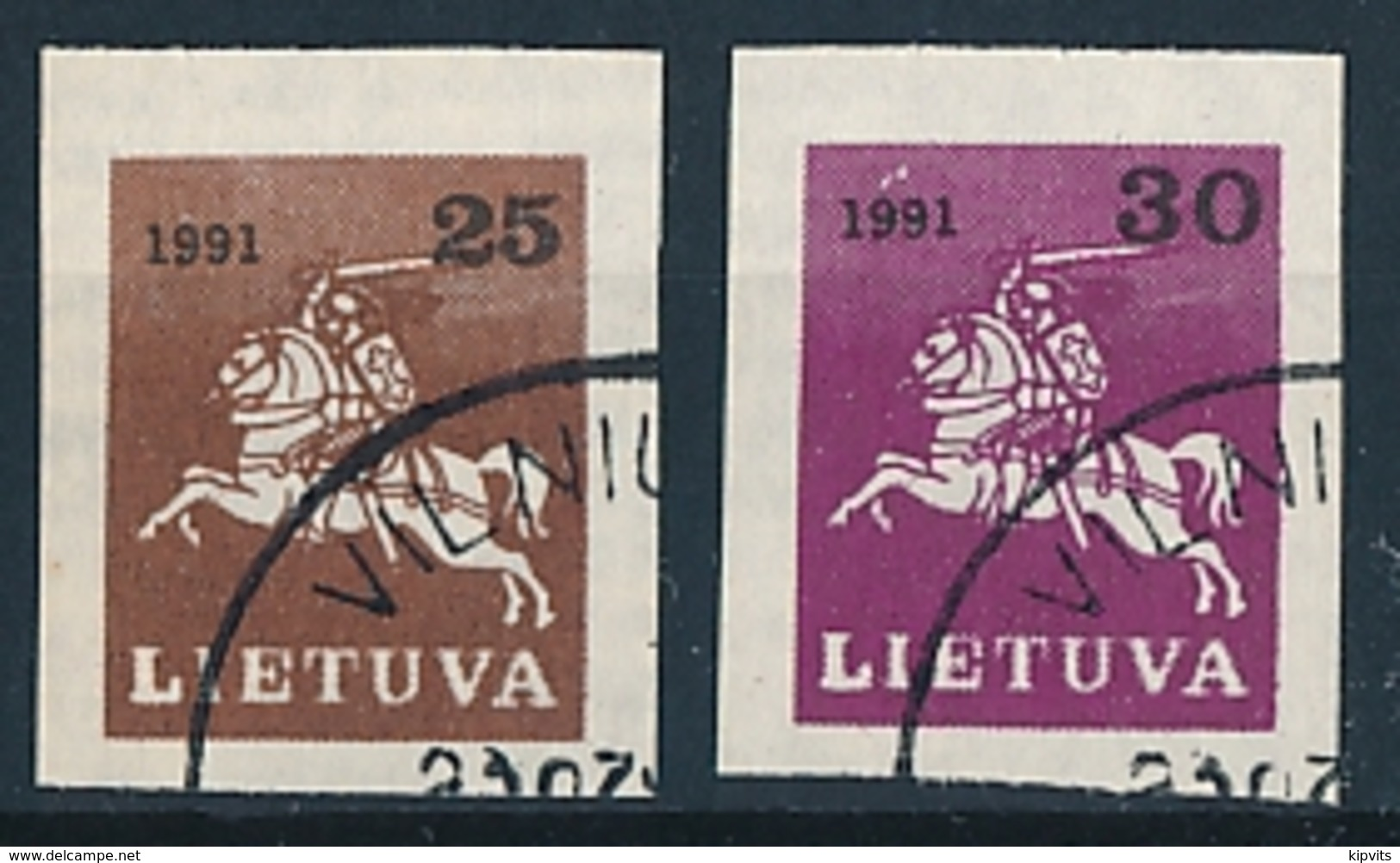 Mi 480-81 CTO / Vytis Definitives Imperforated - Lithuania