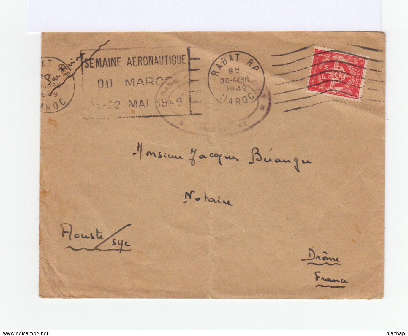 Sur Enveloppe Par Avion De Rabat Timbre De F.M. Rouge. Cad Rabat 1949. Flamme Semaine Aèronautique Mai 1949. (819) - Maroc (1891-1956)