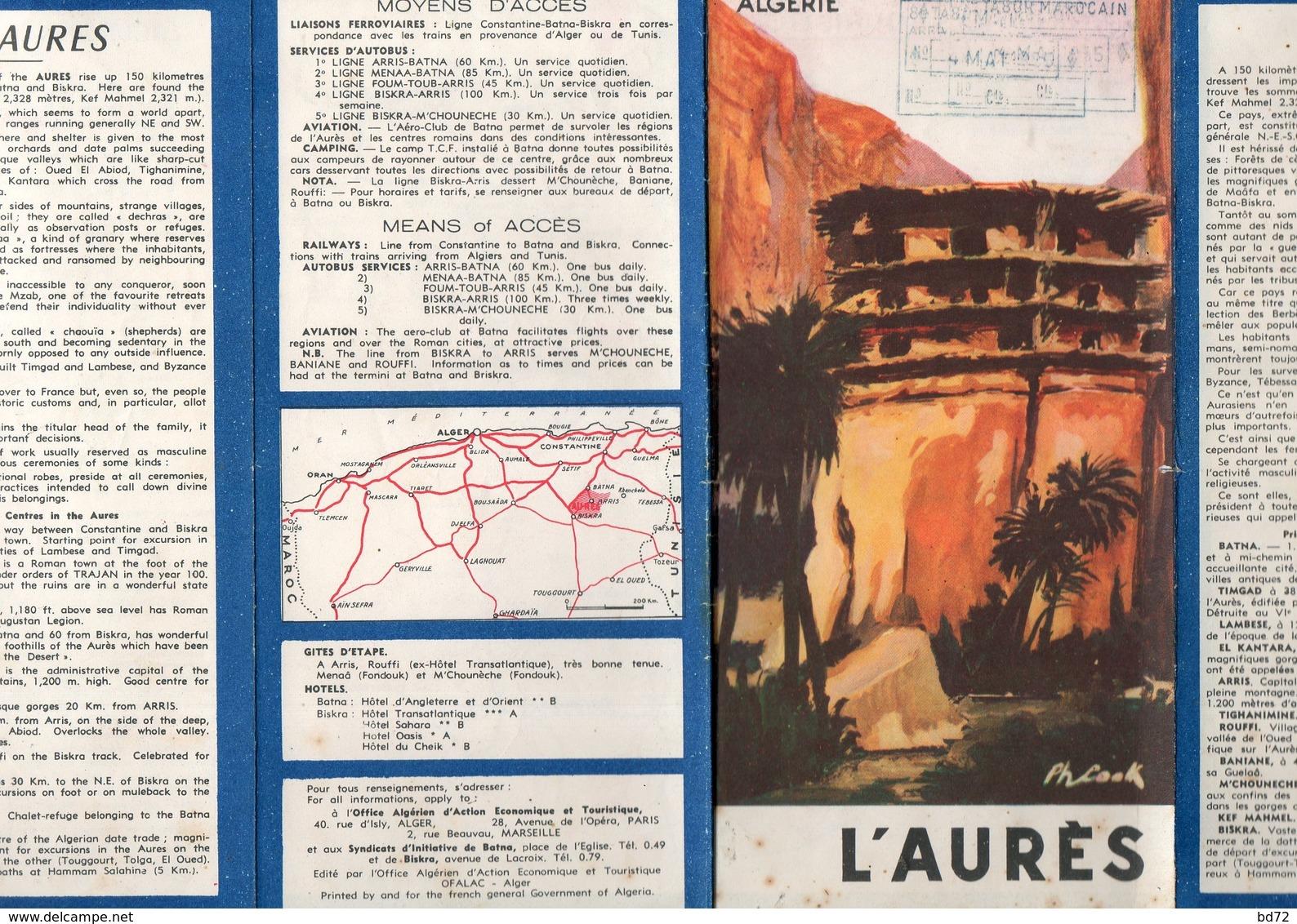 """Dépliant Touristique """" L' AURES - ALGERIE """" - Dépliants Touristiques"""