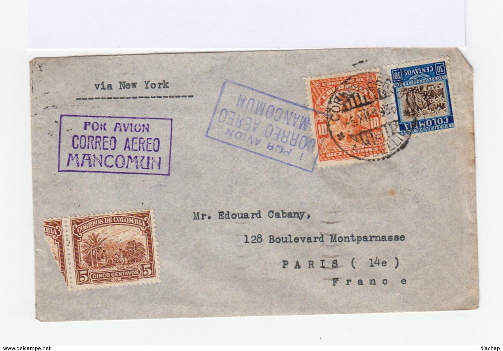 Sur Enveloppe De Colombie 3 Timbres Correos De Colombia. CAD Medellin 1936. Correo Aero Via New York Vers Paris. (820) - Colombie