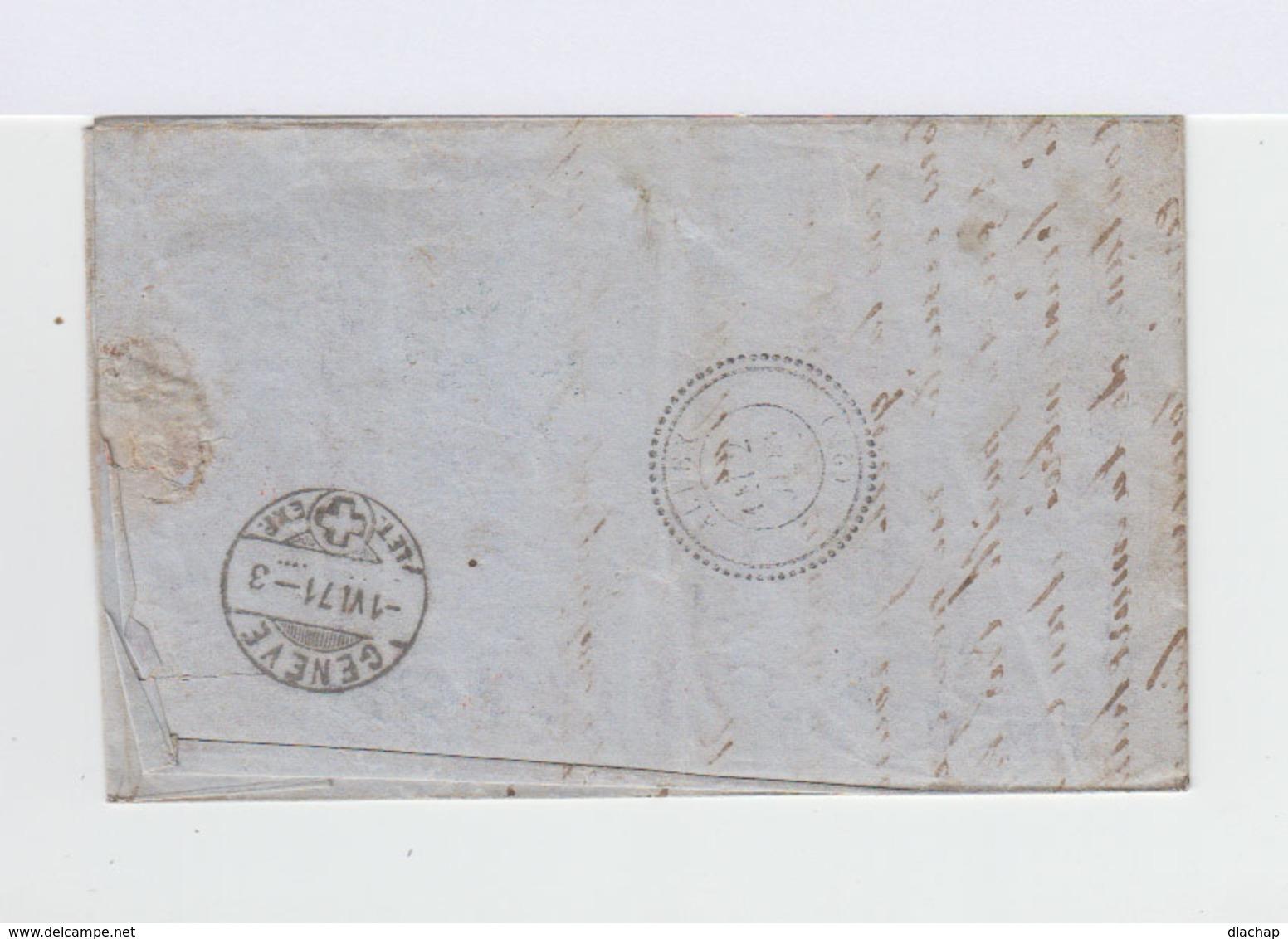 Sur Lettre Helvetia Assise Dentelée 30 C. Outremer. CAD Carouge 1871. Cachet D'entrée Suisse Marseille. PD. (821) - Marcophilie