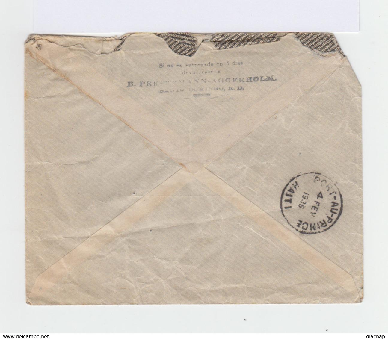 Enveloppe Par Avion République Dominicaine Vers Port Au Prince,Haïti. CAD 1936. CAD Port Au Prince. (822) - Dominicaine (République)