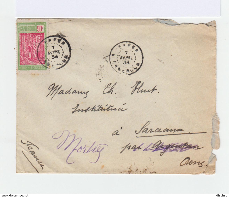Sur Enveloppe Du Cameroun Vers Sarceaux Timbre  50 C. Vert Jaune Et Rose CAD Cameroun 1934. Vignette Jeux Et Santé (824) - Cameroun (1915-1959)
