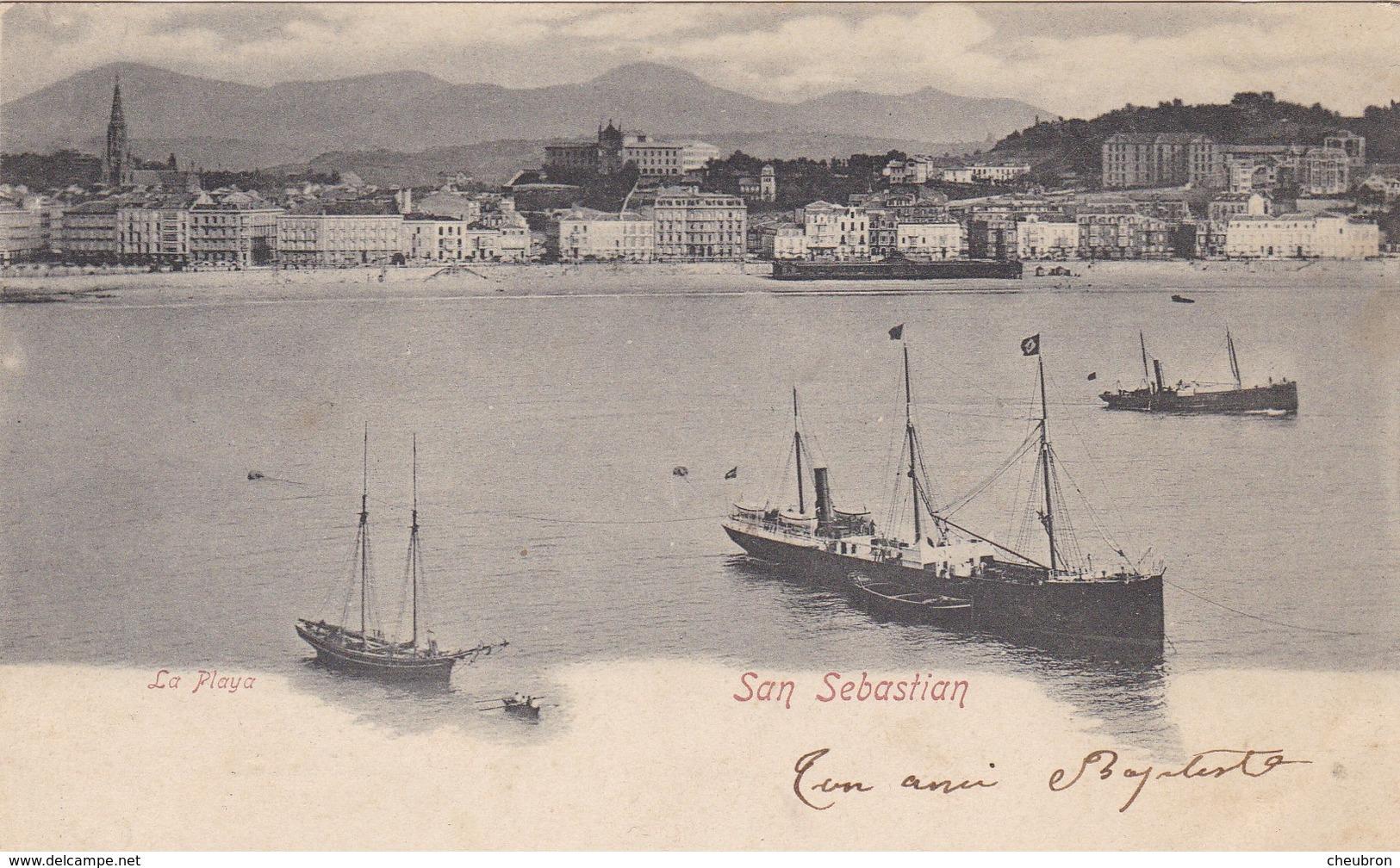 ESPAGNE. SAN SEBASTIAN. RARETE. LA PLAYA. ANNÉE 1905 - Guipúzcoa (San Sebastián)