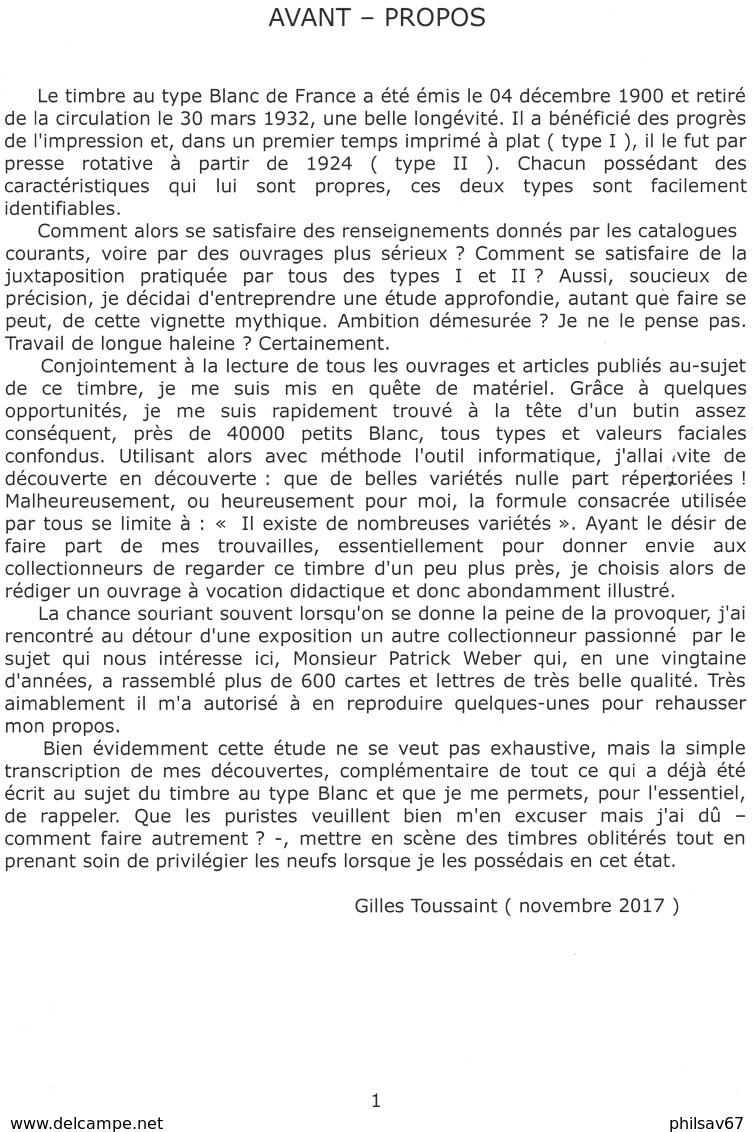 Essai Sur Le Timbre Au Type Blanc De France ( Tome 1 : L'impression à Plat ) Par Gilles Toussaint - 1900-29 Blanc