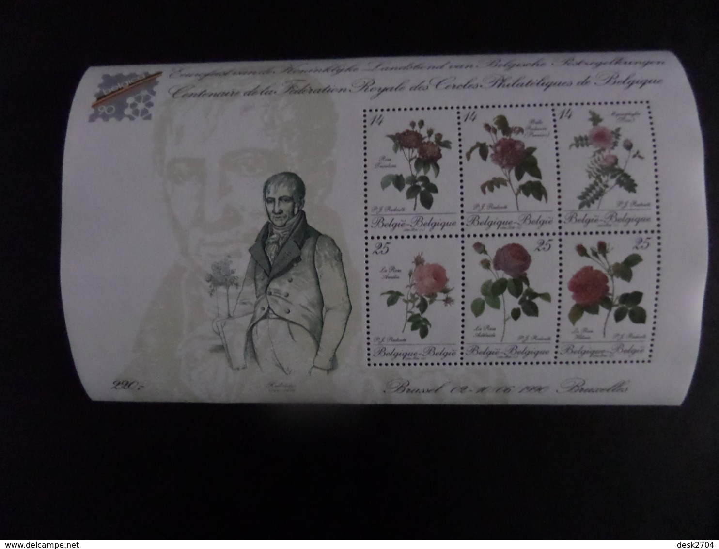 Belgica 90, Centenaire De La Fédération Royale Des Cercles Philatéliques De Belgique - Rose