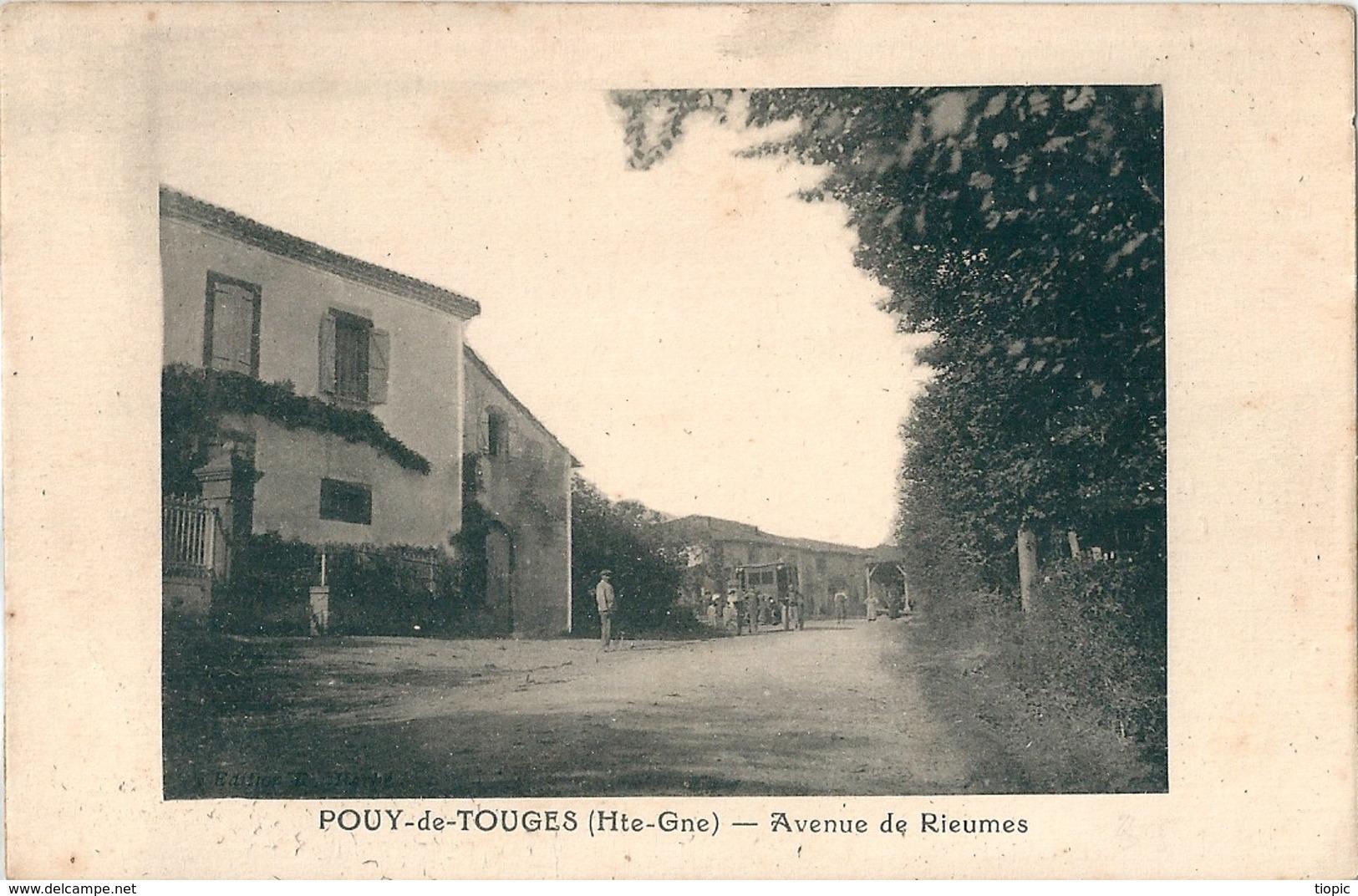 POUY-de-TOUGES  ( 31 )   Avenue De RIEUMES .  ( Assez Rare Parait-il  ? ) - Autres Communes