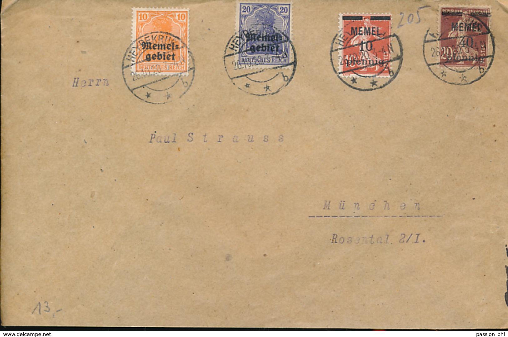 LITHUANIA MEMEL  COVER FROM HEYDEKRUG 1920 TO MUNCHEN - Memel (1920-1924)