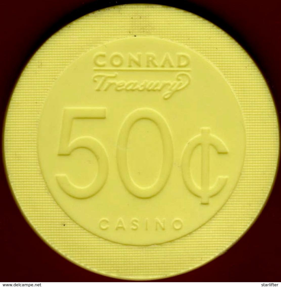 50¢ Casino Chip. Treasury, Birsbane, Australia. I01. - Casino