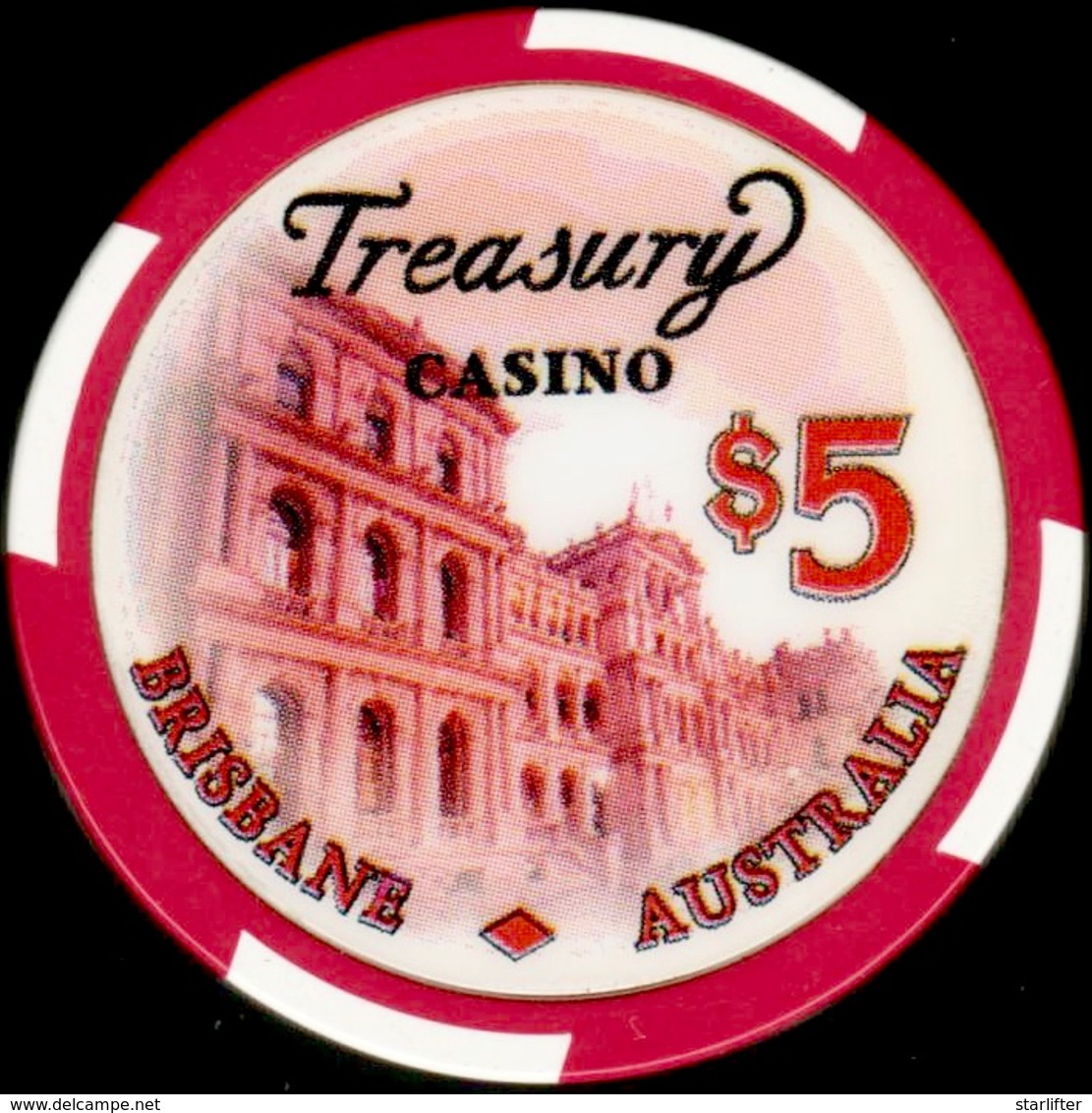 $5 Casino Chip. Treasury, Birsbane, Australia. I01. - Casino