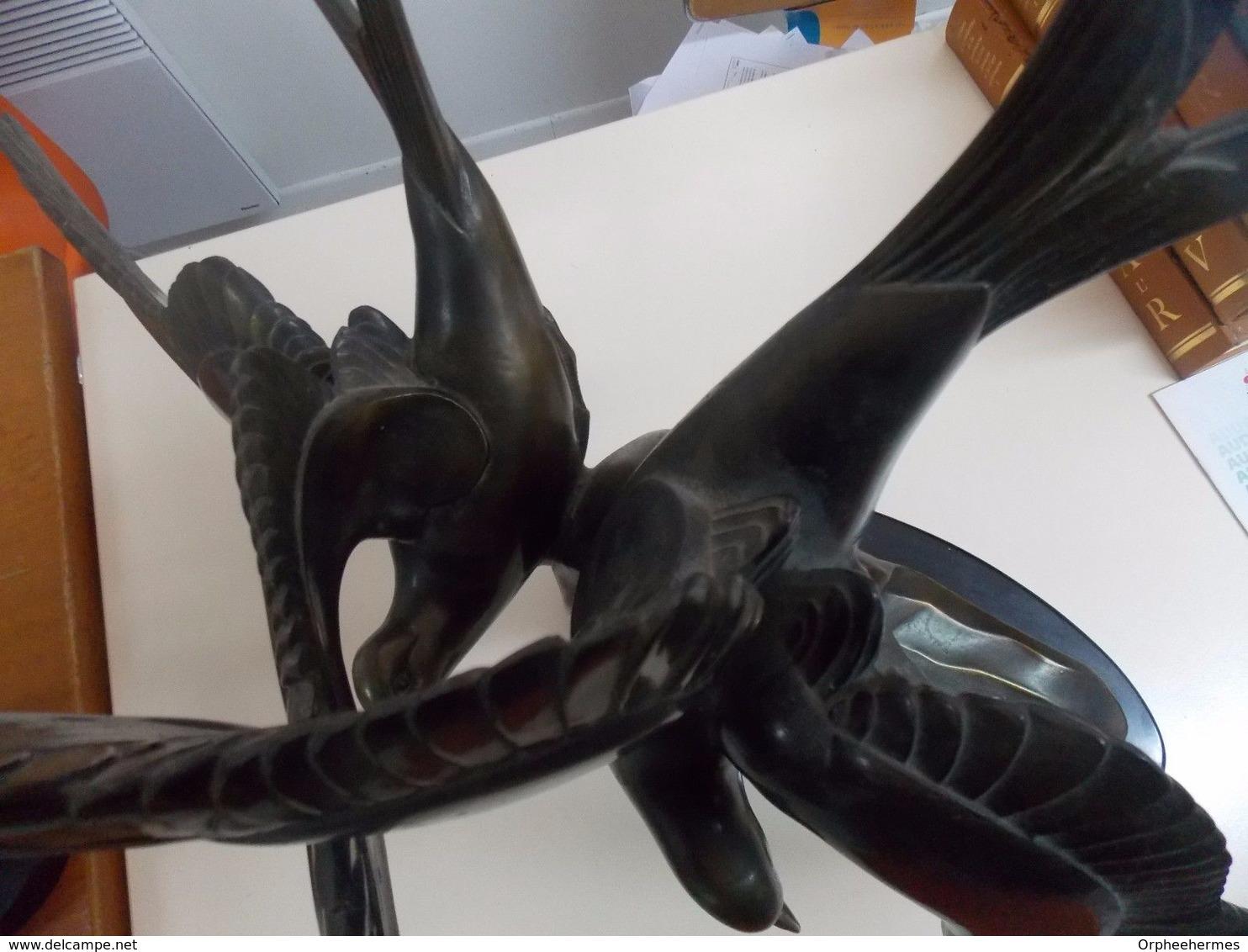 Sculpture IMPOSANTE Envol De MouetteS . Rochard Patine Verte - Bronzes