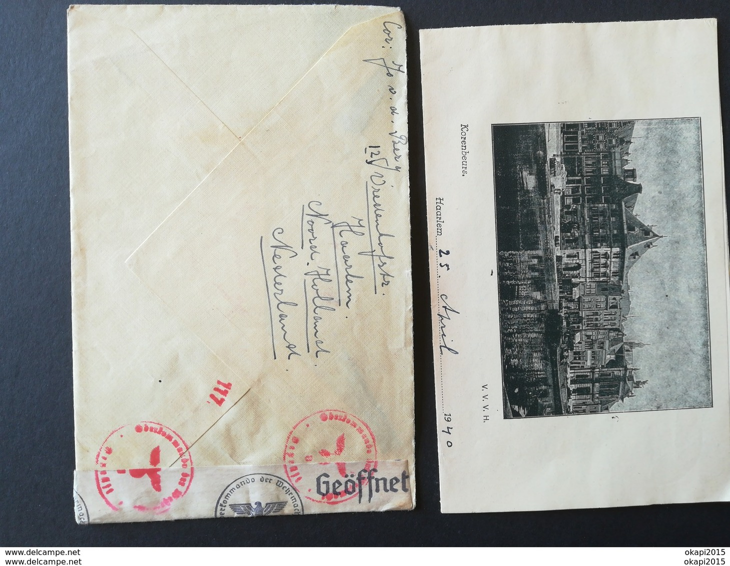 Étiquette Avec Cachet Croix Gammée Symbole Régime Nazi Sur Enveloppe Envoyé De  Hollande En Belgique Militaria Guerre - 1939-45