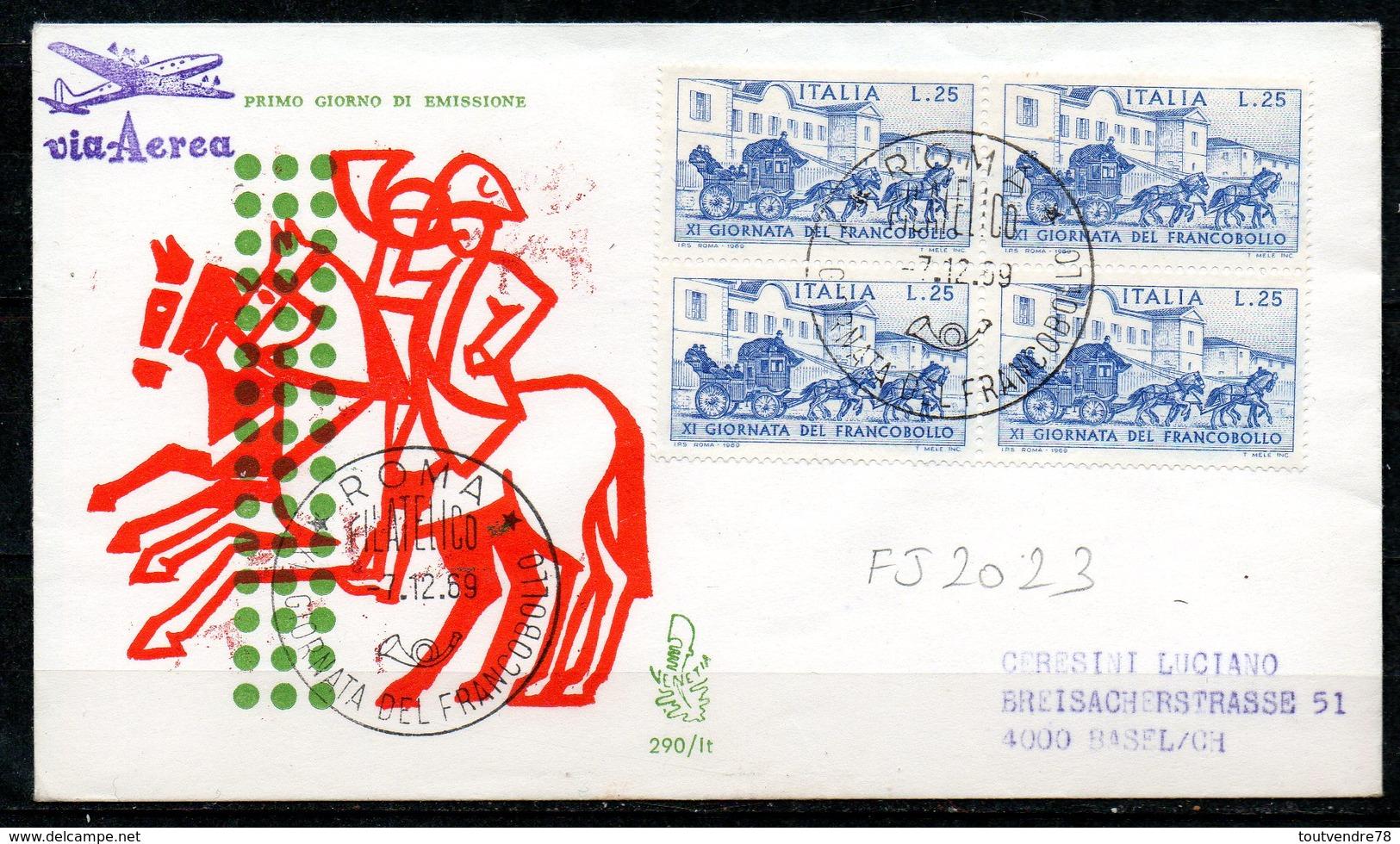 FJ8023 : Italie FDC Journée Du Timbre 1969 - 1946-.. République