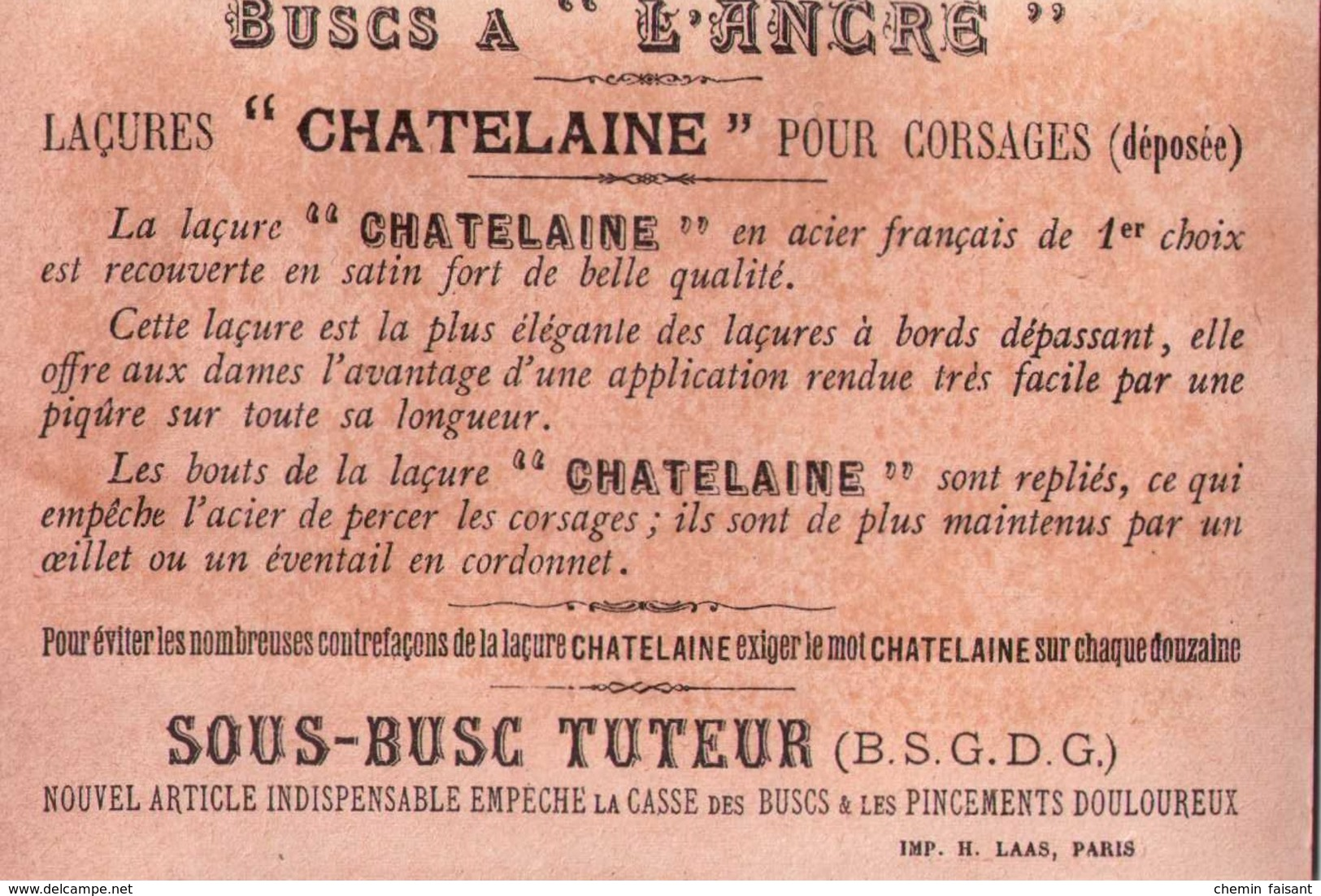 Chromo Buscs à L'ANCRE, Laçures CHATELAINE - Rêverie...   - Scans  Recto-verso - Autres