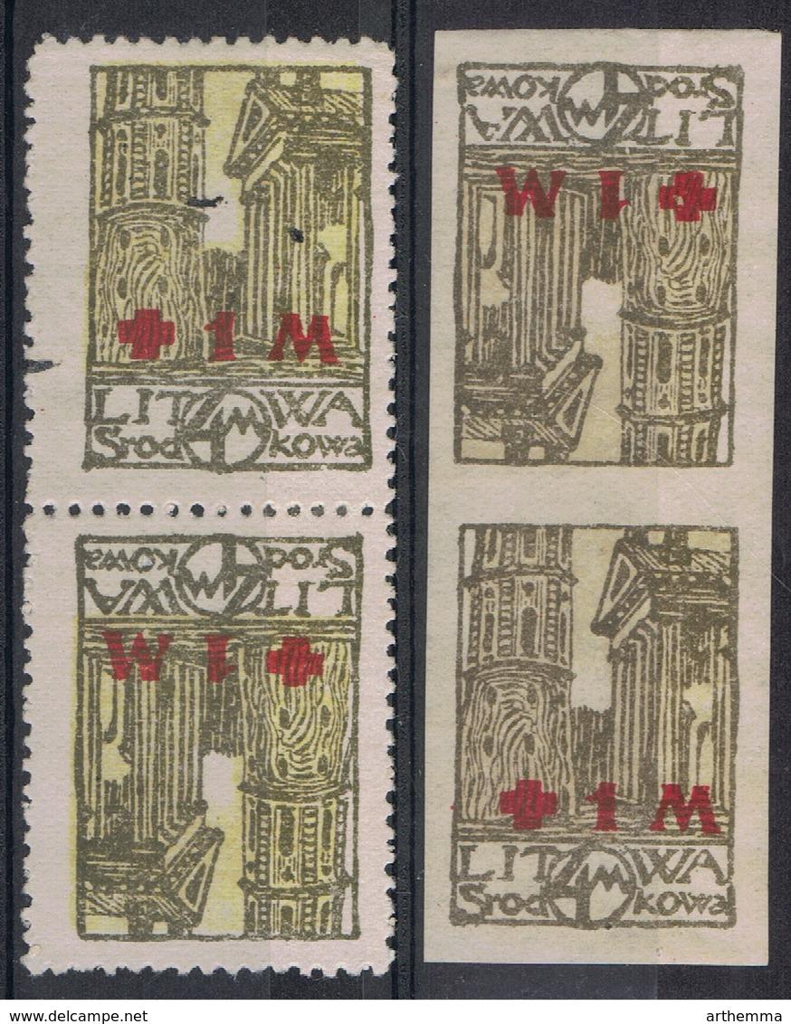 1920 - LITUANIE CENTRALE N° Yvert 21 Avec Surcharge + 1 M - Tête Bêche + Dentelé Et Non Dentelé - Lithuania