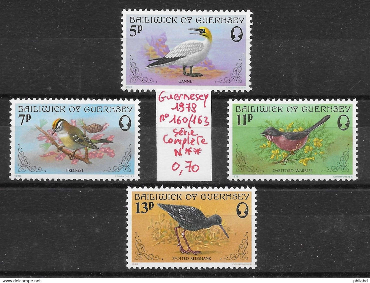 Oiseau Fou De Bassan Roitelet Fauvette - Guernesey N°160 à 162 1980 ** - Non Classés